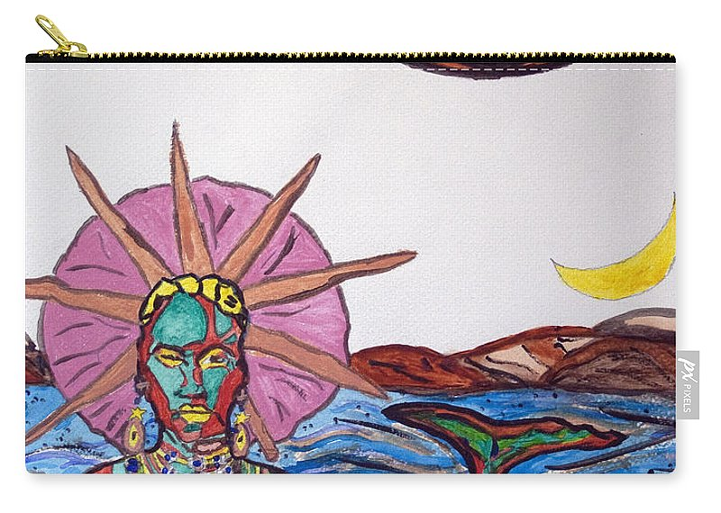 Yemanja Carry-all Pouch featuring the painting Yemoja Ufo by Stormm Bradshaw