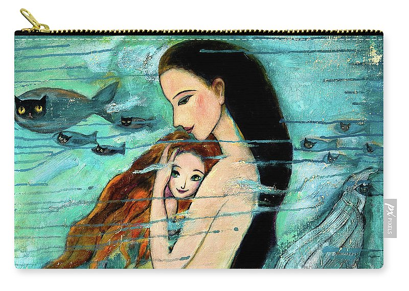 Mermaid Art Carry-all Pouch featuring the painting Mermaid Mother and Child by Shijun Munns