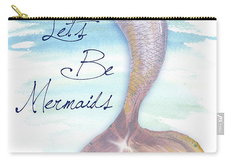 Mermaid Carry-all Pouch featuring the painting Mermaid Tail II by Elizabeth Medley