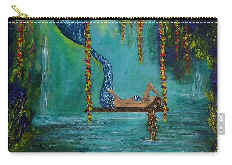 Mermaid Paintings Carry-all Pouch featuring the painting Mermaids Relaxing Morning by Leslie Allen