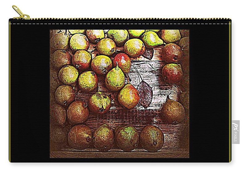 Gold Carry-all Pouch featuring the photograph Merry Christmas And A Happy New Year - Little Gold Pears And Leaf - Holiday And Christmas Card by Miriam Danar