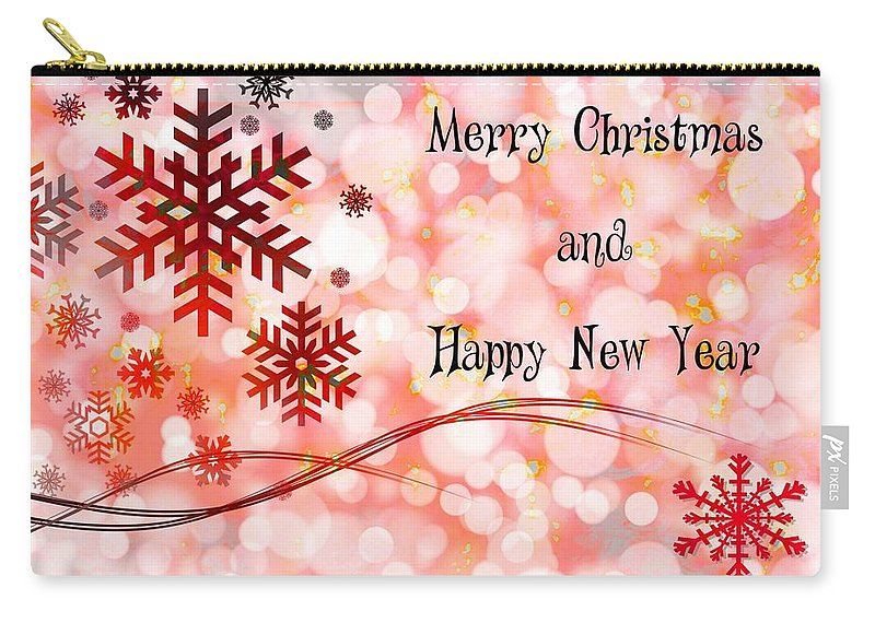 Festive Carry-all Pouch featuring the digital art Merry Christmas And Happy New Year by Paula Ayers