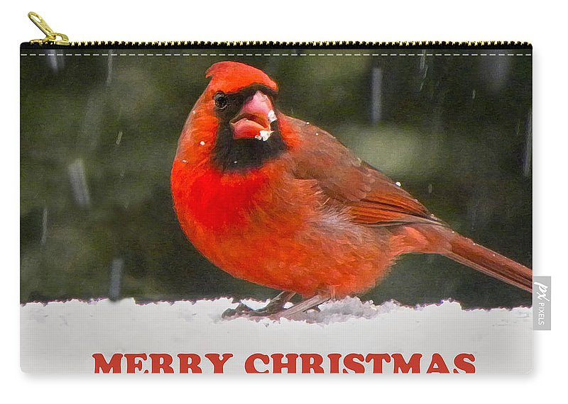 Northern Cardinal Carry-all Pouch featuring the photograph Merry Christmas Cardinal by Sandi OReilly