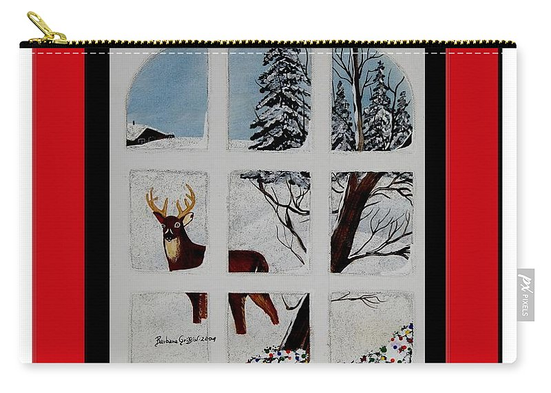Merry Christmas Deer Carry-all Pouch featuring the painting Merry Christmas Deer by Barbara Griffin