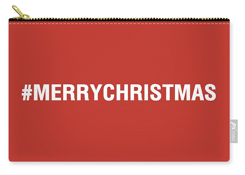 Christmas Carry-all Pouch featuring the mixed media Merry Christmas Hashtag by Linda Woods