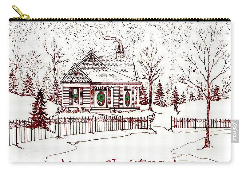 Christmas Carry-all Pouch featuring the drawing Merry Christmas by Lizi Beard-Ward