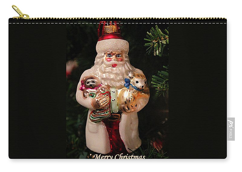 Christmas Carry-all Pouch featuring the photograph Merry Christmas Santa And Animals by Deb Buchanan