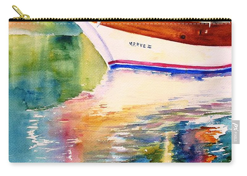 Sail Carry-all Pouch featuring the painting Merve II Gulet Yacht Reflections by Carlin Blahnik CarlinArtWatercolor