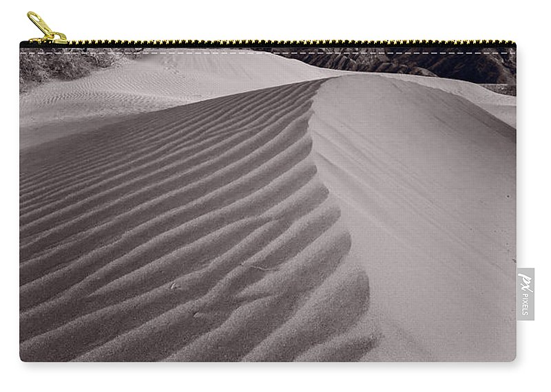 Death Carry-all Pouch featuring the photograph Mesquite Dunes Death Valley B W by Steve Gadomski