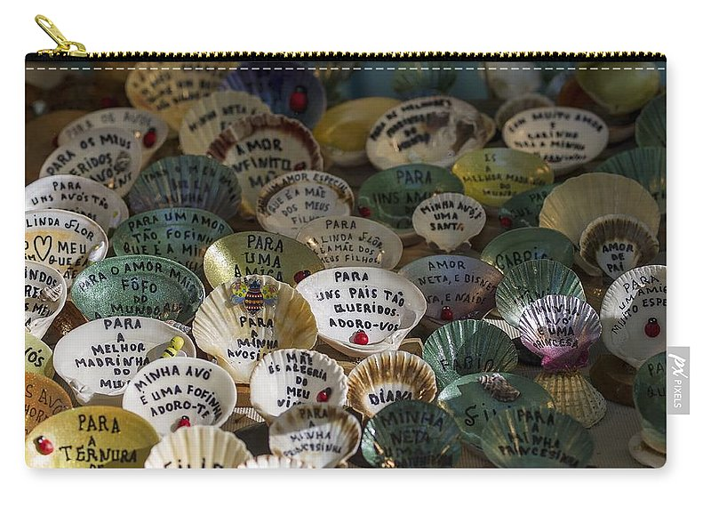Message Carry-all Pouch featuring the photograph Messages On Shells by Paulo Goncalves