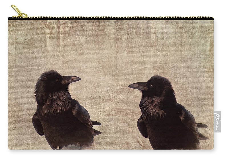 Raven Carry-all Pouch featuring the photograph Messenger by Priska Wettstein
