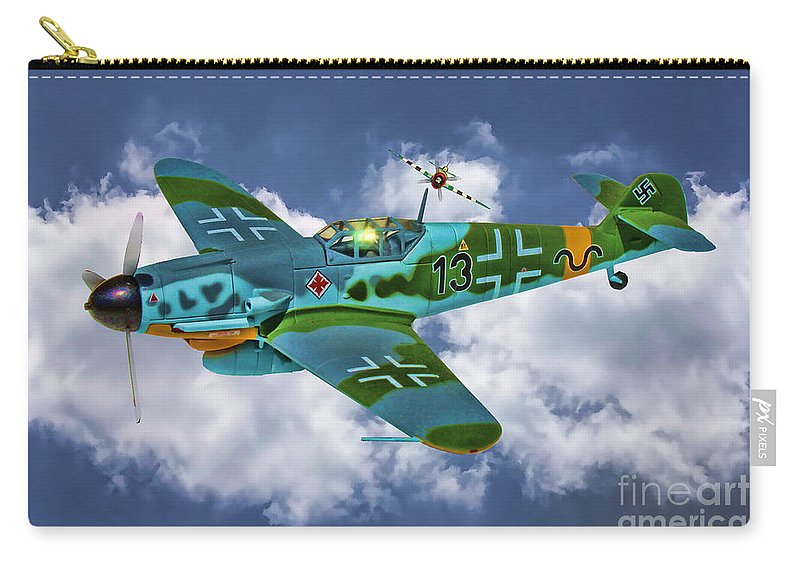 German Carry-all Pouch featuring the digital art Messerschmitt Me109 by Tommy Anderson