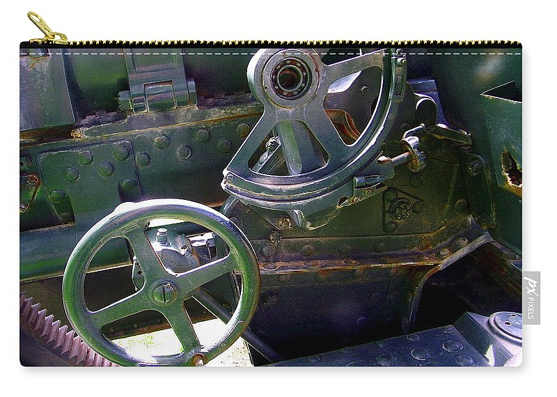 Japanese Carry-all Pouch featuring the photograph Antique Canon Mechanisms by Dale Jackson