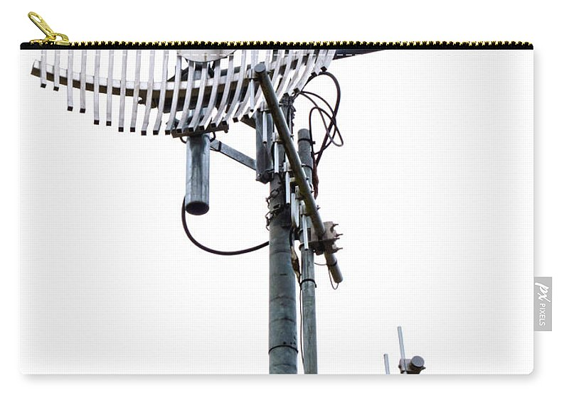 Aerial Carry-all Pouch featuring the photograph Metal Telecom Tower And Antennas Isolated On White by Stephan Pietzko