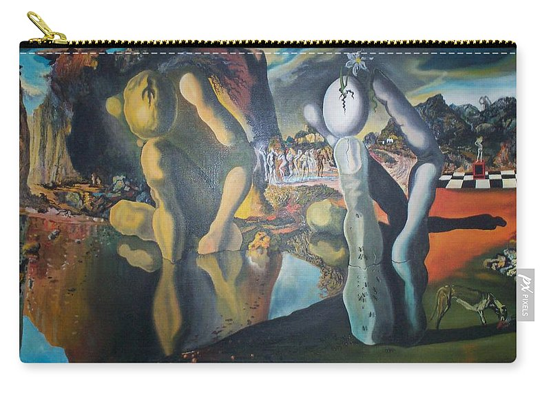 Metamophosis Of Narcissus Carry-all Pouch featuring the painting Metamophosis Of Narcissus by Gary Hogben