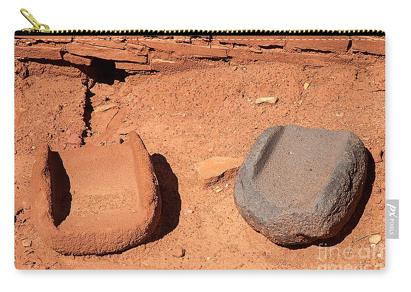 Arizona Carry-all Pouch featuring the photograph Metates At Wupatki Pueblo In Wupatki National Monument by Fred Stearns