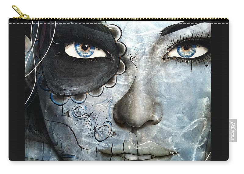 Face Tattoo Carry-all Pouch featuring the painting Metallic Messiah by Christian Chapman Art
