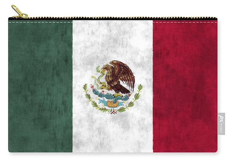 Mexico Carry-all Pouch featuring the digital art Mexico Flag by World Art Prints And Designs