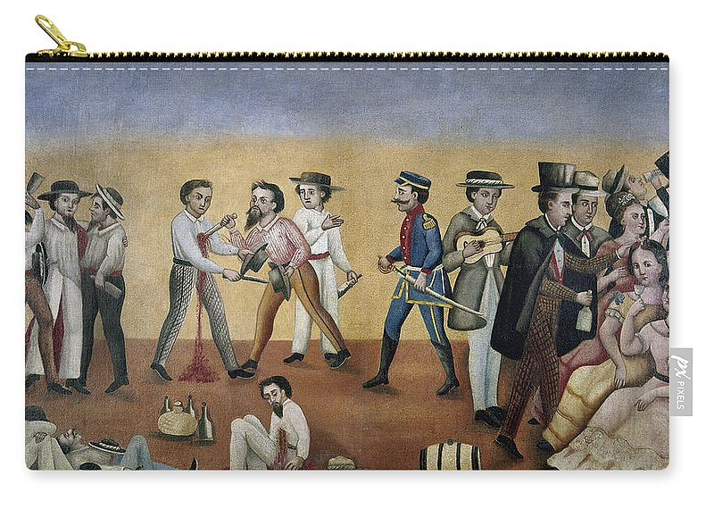 1850 Carry-all Pouch featuring the painting Mexico Satire, C1850 by Granger