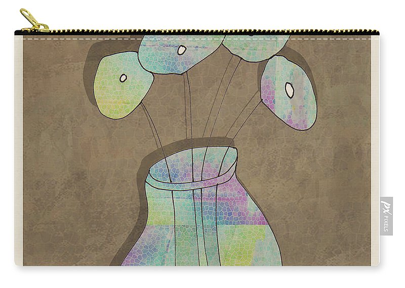 Flowers Carry-all Pouch featuring the drawing Mgl - Flowers 02 by MGL Meiklejohn Graphics Licensing