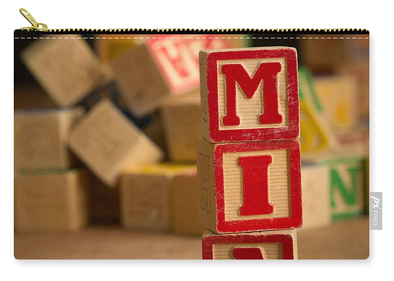 Alphabet Carry-all Pouch featuring the photograph Mia - Alphabet Blocks by Edward Fielding