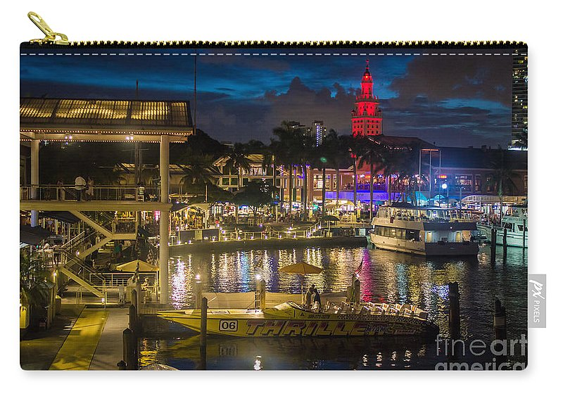 Miami Bayside Marketplace Carry-all Pouch featuring the photograph Miami Bayside And Freedom Tower by Rene Triay Photography