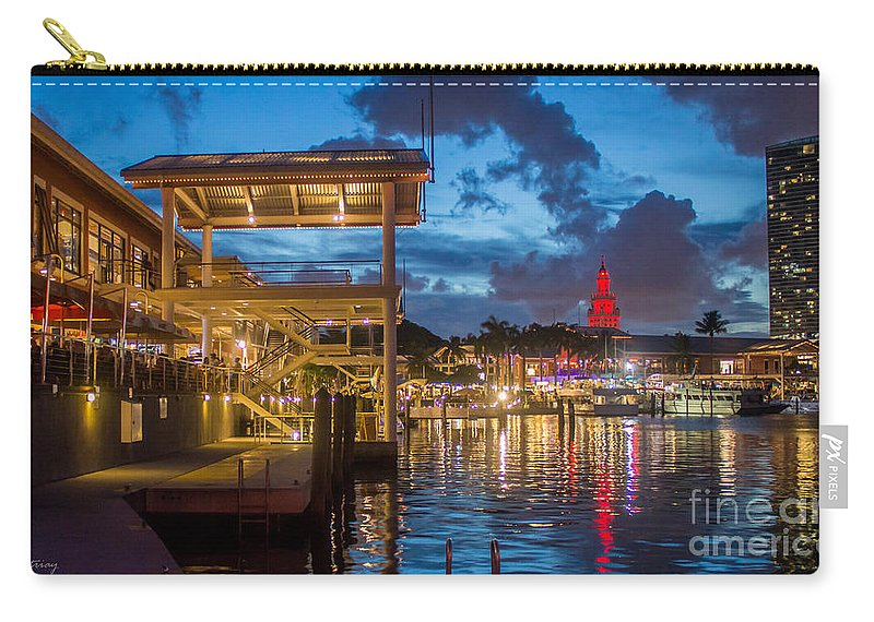 Miami Bayside Carry-all Pouch featuring the photograph Miami Bayside Freedom Tower by Rene Triay Photography
