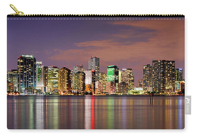 Miami Carry-all Pouch featuring the photograph Miami Skyline At Dusk Sunset Panorama by Jon Holiday