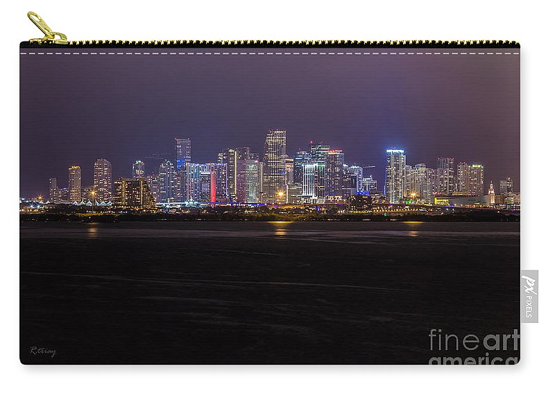 Miami Skyline Carry-all Pouch featuring the photograph Miami Skyline Bay View by Rene Triay Photography