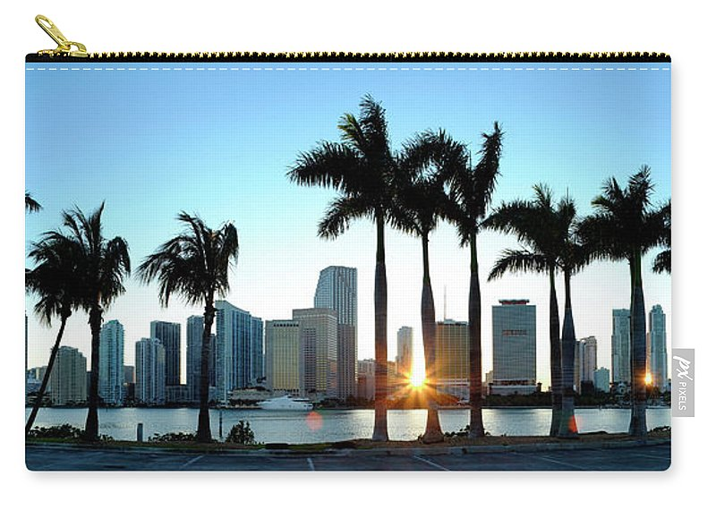 Downtown District Carry-all Pouch featuring the photograph Miami Skyline Viewed Over Marina by Travelpix Ltd