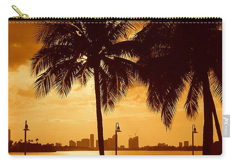 Miami Romance Print Carry-all Pouch featuring the photograph Miami South Beach Romance II by Monique's Fine Art