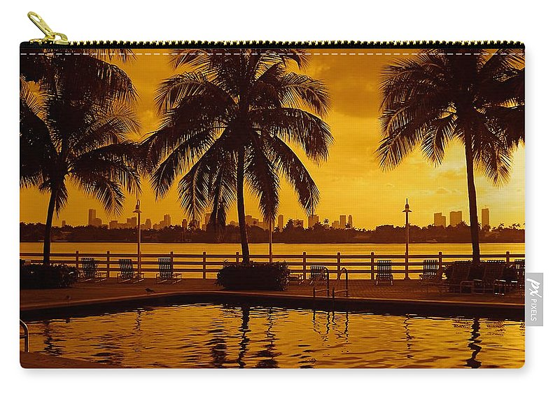 Miami South Beach Print Carry-all Pouch featuring the photograph Miami South Beach Romance by Monique's Fine Art