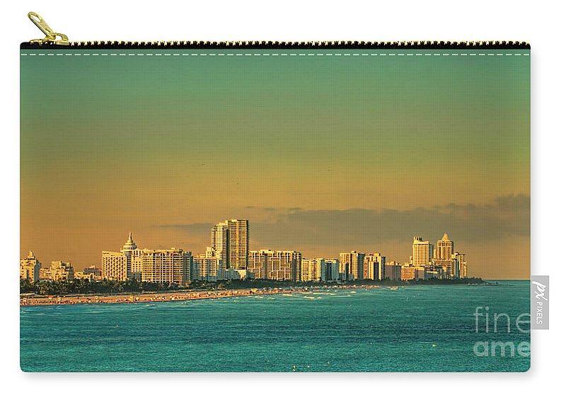 Miami Carry-all Pouch featuring the photograph Miami Sunset by Olga Hamilton