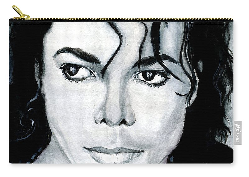 Michael Jackson Carry-all Pouch featuring the painting Michael Jackson Portrait by Alban Dizdari