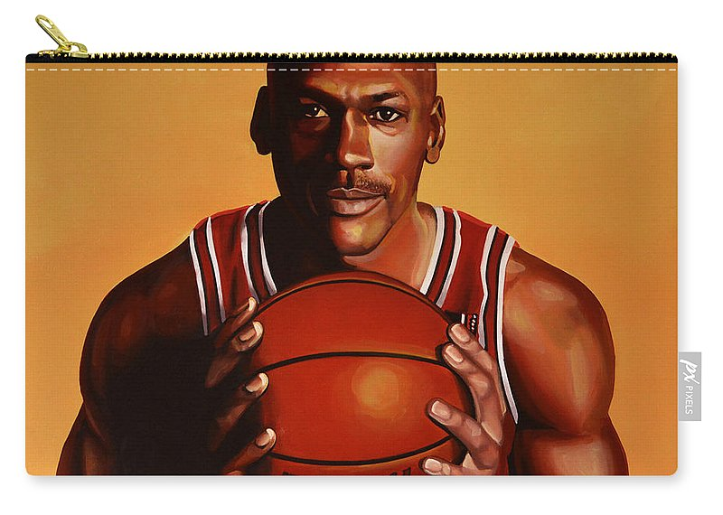 Michael Jordan Carry-all Pouch featuring the painting Michael Jordan 2 by Paul Meijering