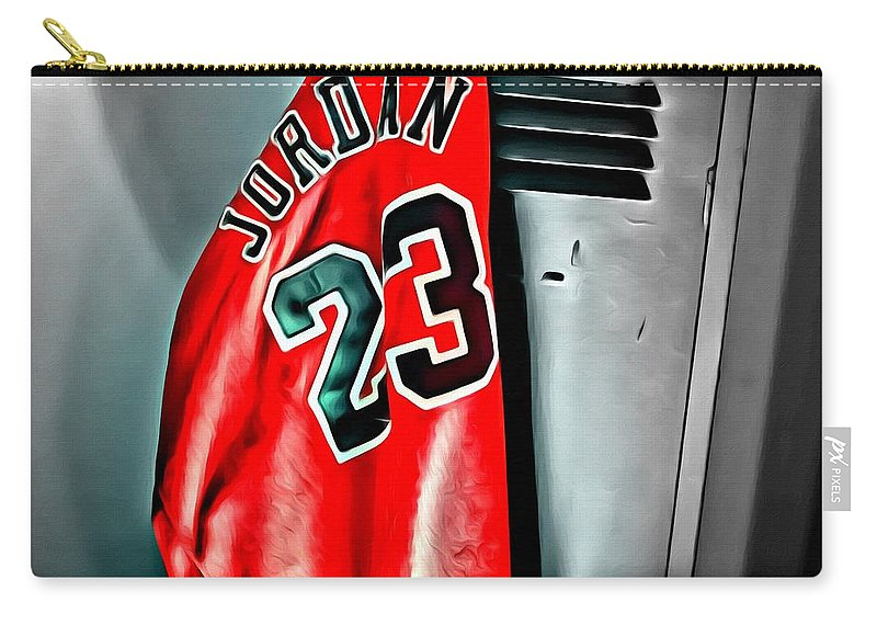 Nba Carry-all Pouch featuring the painting Michael Jordan 23 Shirt by Florian Rodarte