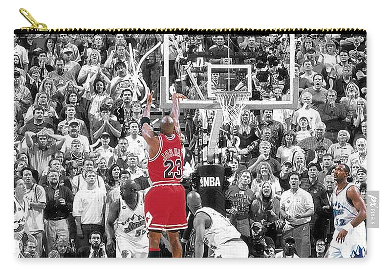 Michael Jordan Carry-all Pouch featuring the mixed media Michael Jordan Buzzer Beater by Brian Reaves