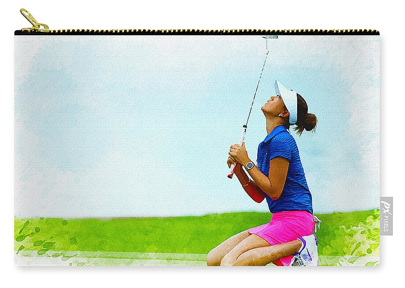 Illustration Carry-all Pouch featuring the digital art Michelle Wie Of The United States Reacts After Missed Off To A B by Don Kuing
