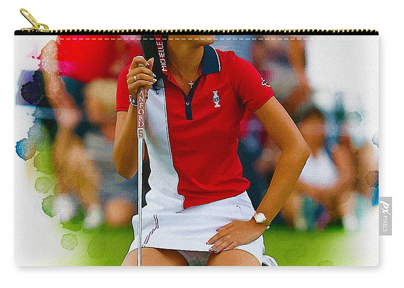 Canada Carry-all Pouch featuring the digital art Michelle Wie Of The Usa Solhiem Cup Reacts After Missing A Putt by Don Kuing
