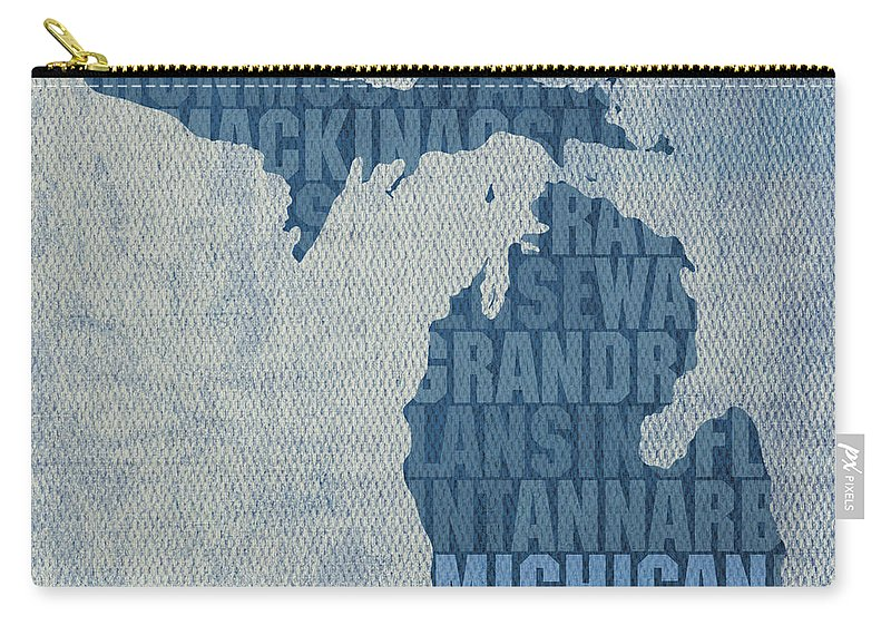 Michigan Great Lake State Word Art On Canvas Carry-all Pouch featuring the mixed media Michigan Great Lake State Word Art On Canvas by Design Turnpike