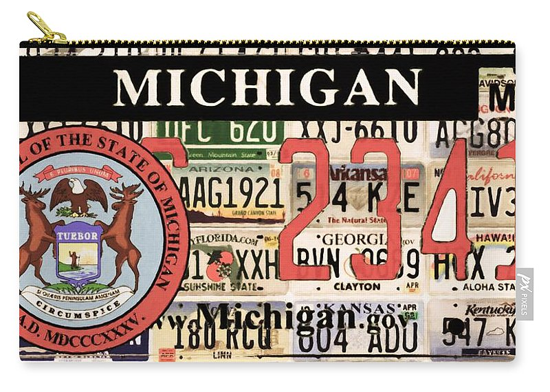 Michigan License Plate Carry-all Pouch featuring the painting Michigan License Plate by Jeelan Clark