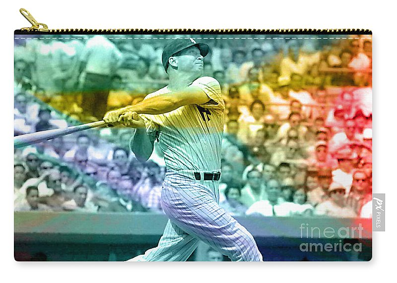 Mickey Photographs Carry-all Pouch featuring the mixed media Mickey Mantle by Marvin Blaine