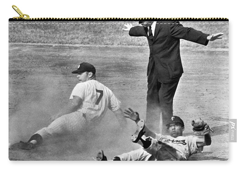 1961 Carry-all Pouch featuring the photograph Mickey Mantle Steals Second by Underwood Archives