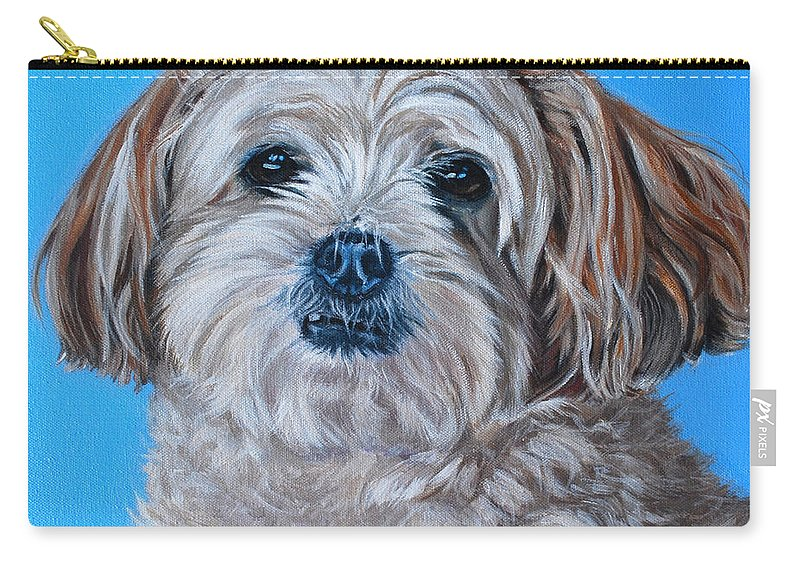 Maltese X Shihtzu Painting Carry-all Pouch featuring the painting Micky by Deborah Cullen