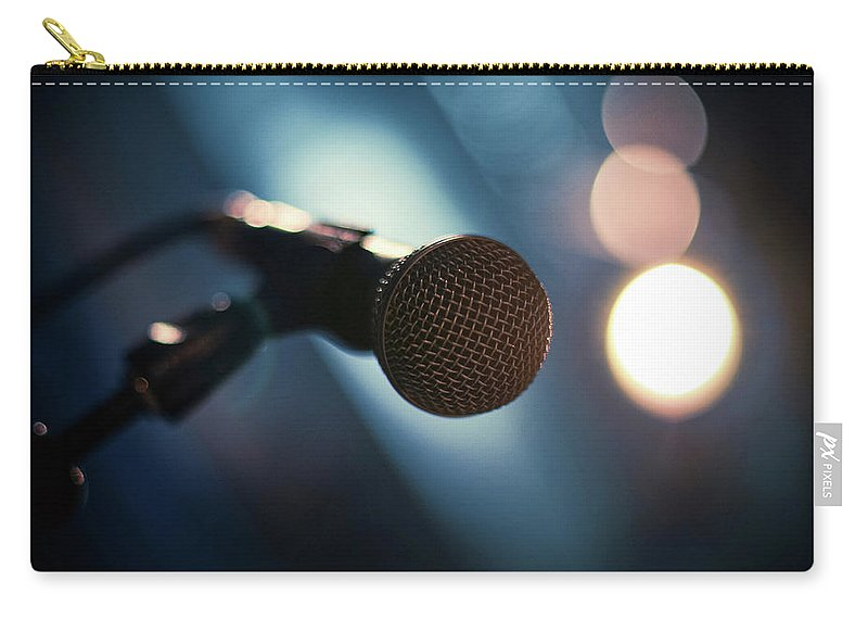 Microphone Stand Carry-all Pouch featuring the photograph Microphone Abstract Close Up In Concert by Alexandre Moreau