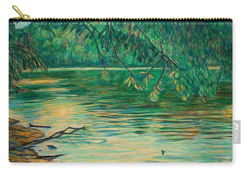 Landscape Carry-all Pouch featuring the painting Mid-spring On The New River by Kendall Kessler