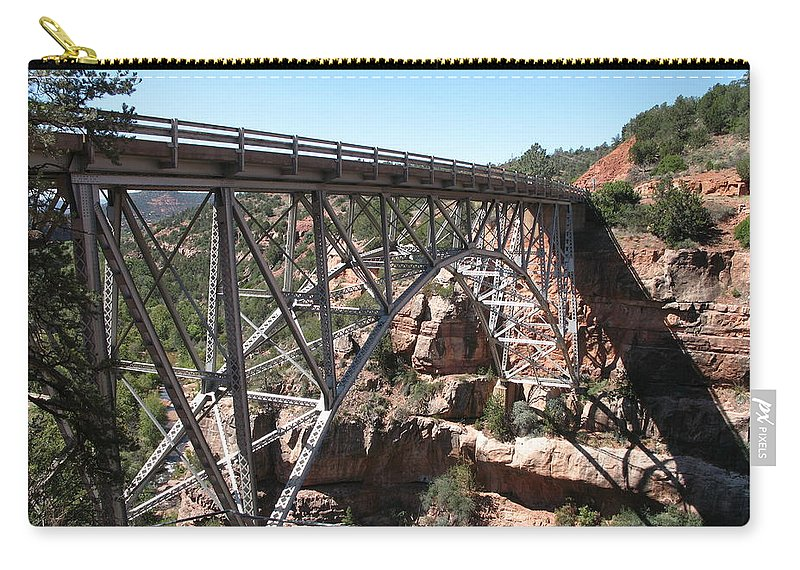Bridge Carry-all Pouch featuring the photograph Midgley Bridge Over Oak Creek Canyon by Christiane Schulze Art And Photography