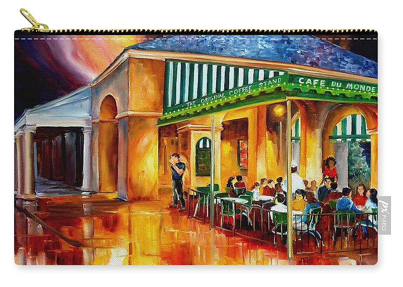 New Orleans Paintings Carry-all Pouch featuring the painting Midnight At The Cafe Du Monde by Diane Millsap