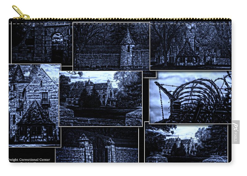 Surrealist Carry-all Pouch featuring the photograph Midnight At The Prison Collage by Thomas Woolworth