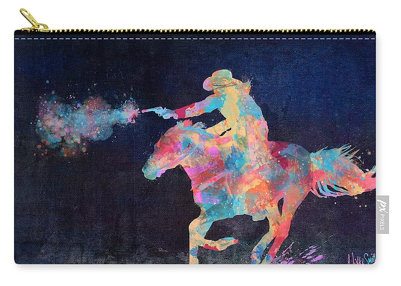 Cowgirl Carry-all Pouch featuring the digital art Midnight Cowgirls Ride Heaven Help The Fool Who Did Her Wrong by Nikki Marie Smith